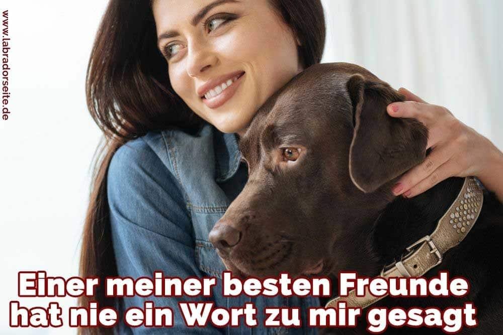 Eine Frau umarmt ihre Labrador